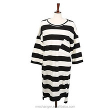 short sleeve black white stripe t shirt loose fit long style casual t shirt cotton round collar t shirt