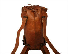 Genuine leather antique army and military style big rucksack