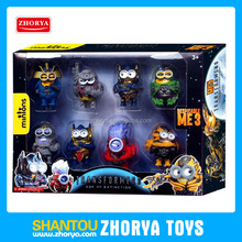 8 pcs/box transform toys minions figure Megatron Optimus Prime plastic despicable me toy transform minions figures