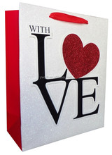 New heart-shaped design of 3D and glitter Valentine's Day cute paper bag for lover's have stock