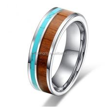 Tungsten Turquoise Hawaiian Koa Wood Ring Wedding Engagement Band for Men Women Couples