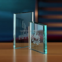 Simple Design Rectangle Shape Jade Glass Awards Plaque With Customized Logo Engraved