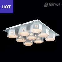 LED 40W flat ceiling light with cream color Lights Ceiling Lamps iron aluminum acrylic silver Finish
