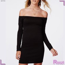 Hot Sale Spring Black Bardot Bodycon Dresses Woman Dress Fashion Shops