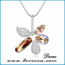 austrian rhinestone silver angel wing amaranth crystal pendant necklace