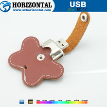 Different animal style Metal Key ring Leather USB flash disk with hole