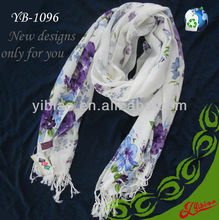 New Design Floral Printing Long Fashion Acrylic Scarf For Winter
