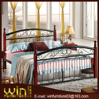 antique double cot bed designs with wooden post DB-0264