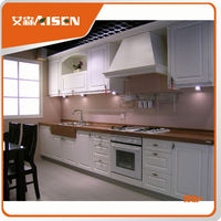 The best choice factory directly white laminated finish kitchen furniture with black countertop