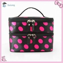 Satin material two compartment cosmetic bag