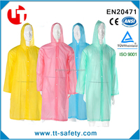 adult portable long size hooded clear reusable raincoat clear pvc raincoat