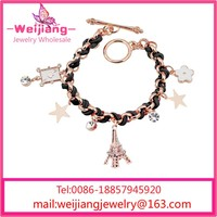 W038 The Crystal Eiffel Tower Small Tassel Cowhide Rope Bracelets for Women