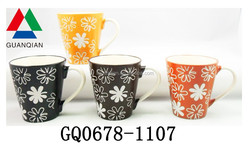 11oz custom ceramic coffee mug and C-handle with flower brown box for cheap sale