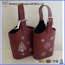 High Quality Custom Printed Faux Leather Wine Bottle Carrier Wholesale