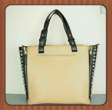 2014 PU leather wooden and grey color simple style fashion woman totes bags with spikes