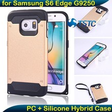 Silicone Decorate Cell Phone Case, Detachable Silicone+PC Hybrid Mobile Phone Hard Case Back Cover for Samsung Galaxy S6 Edge
