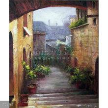 100% Handmade impressionist landscape art Italian City Street Homes Industrial Area Oil Painting