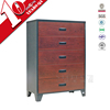 vintage american style chest of drawers / wood grain transfer printing steel 5 drawer cabinet with stand feet