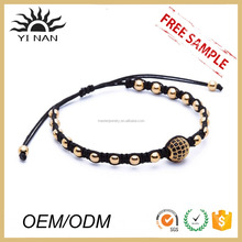 Fashion Jewelry Stainless Steel Bead and Zircon Ball Knot Friendship Bracelet