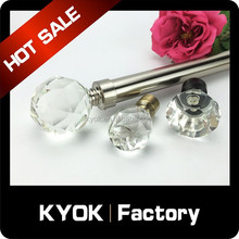 KYOK New style decoration crystal glass curtain finial,Modern Curtain Finials,Aluminium Curtain rod Finia