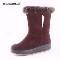 Suede upper high quality ladies low price flat sole fuzzy winter boots