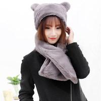 2015new fashion Winter Warm Women's bear Hat Long Scarf Shawl Snood Wraps girl scarf