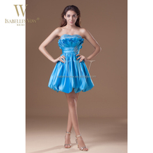 Blue taffeta sweetheart bling cocktail party dress real pictures of cocktail dress