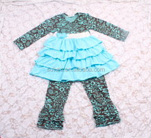 Wholesale Boutique Baby Girl Fall Outfits With Aqua Damask Toddler Outfits And Triple Aqua Ruffles Girl Clothing