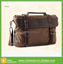 Vintage Leather Canvas College Student Shoulder Bag Trendy Messenger Bag