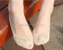 Custom anti slip low cut socks,Women Cotton Lace Low Cut Boat Socks/Women Lace Invisible Socks