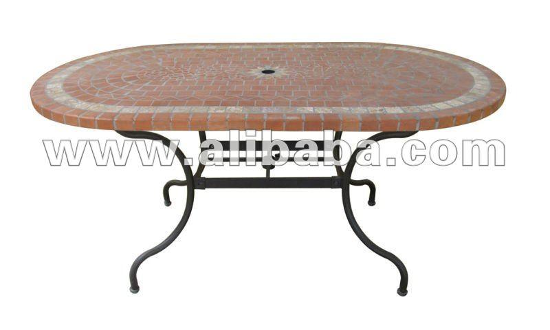 forg fer et en c ramique mosa que ovale table manger avec parasol base table pliante id du. Black Bedroom Furniture Sets. Home Design Ideas