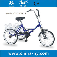 "GW7016 20"" adult folding basket bike tricycle/street city tricycle/bicycle with three wheels"