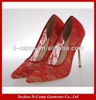 WS-032 High heel fabric lace wedding shoes pointed toe bridal shoes