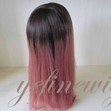 Wholesale French Swiss Layed Ombre Red Wig Indian Human Hair