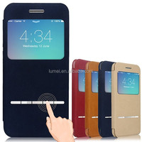 Hot Selling Classic Series Front Leather Flip Cover Back Folio Case For iPhone 6