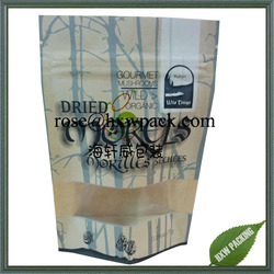 Best selling long self-life paper pouch with see through window for dried food