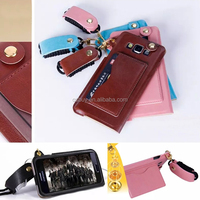 Pu leather cell phone cover A5 with card slot and lanyard for Samsung Galaxy A5