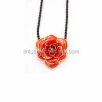 2015 wholesale online shopping alibaba 24K real gold foil red natural rose flowers pendant necklace for women