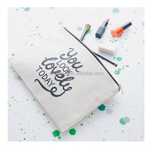cotton canvas zipper pouch,canvas cosmetic bag