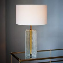11.22-11 fluted shape and textured Patterned Glass Table Lamp dotted surface is inspired by Art Deco design