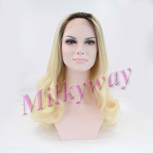 Milkyway hot sell body wave black to blonde two tone heat resistant fiber synthetic lace front wig