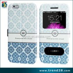 sublimation china smart view window leather case for apple iphone 6