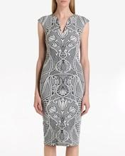 Custom design new elegant evening dress cap sleeve midi 2015 jacquard dress
