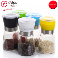 colored lid glass salt pepper grinder household mamual chili pepper grinder mill with ceramic cuttery glass jar