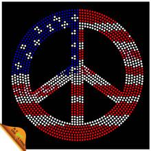 High quality custom peace sign hot fix rhinestones