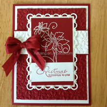 dark red embossed crafts with pearl decoration popular christmas day's card