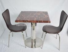el más reciente 2014 de metal de acero inoxidable pulido de base cuadrada de comedor mesas de mármol