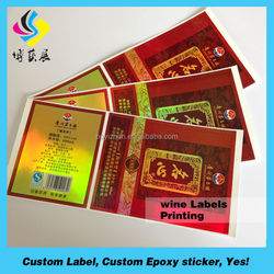 Customized self adhesive roll red wine label sticker.
