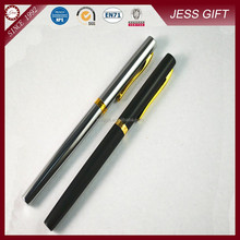 2015 Elegant Matt Black Metal Roller Pen With Gold Parts