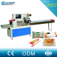 High Packing Speed Cake / Pie / Bread Automatic Bread Flow Wrapper Machine